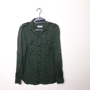 Zara Army Green Button Up Shirt